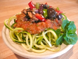 Raw Pasta with Tapenade