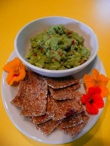 Guac and dehydrated crackers